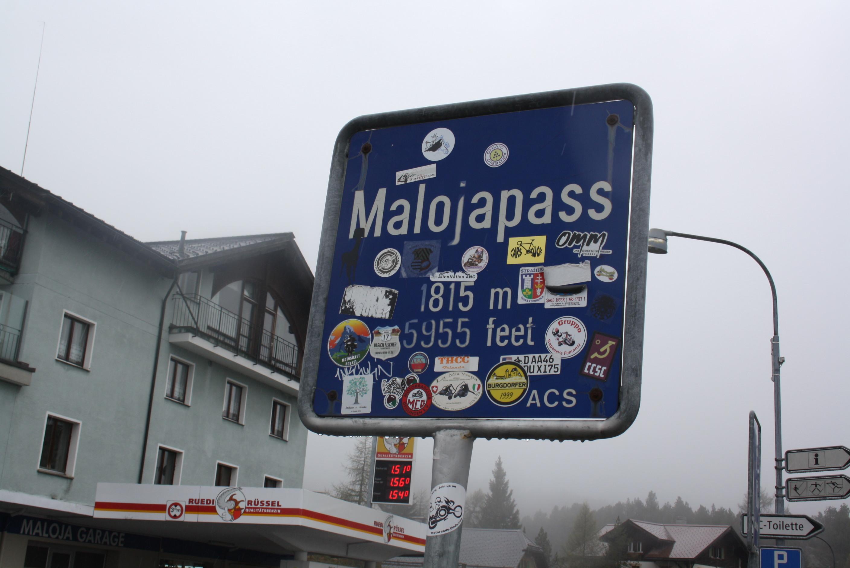 Start des Inntalradweg am Malojapass auf 1815m Höhe